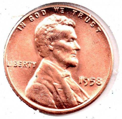 1958p UNC Lincoln Wheat Cent #4