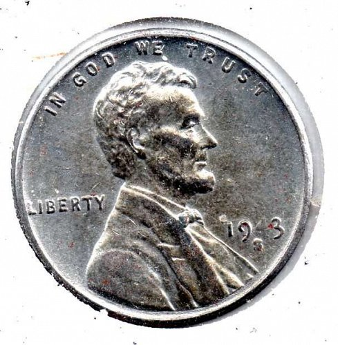 1943s Lincoln Wheat Cent:P Steel Cent #3