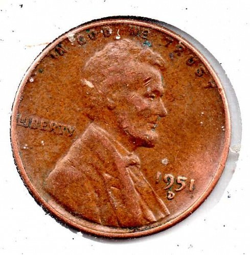 1951d Lincoln Wheat Cent #3