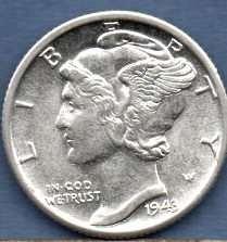 1943 D Gem BU Silver Mercury Head Dime US Coin Money