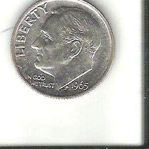 1965 SMS  ROOSEVELT DIME