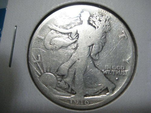 1916 S Walking Liberty half dollar