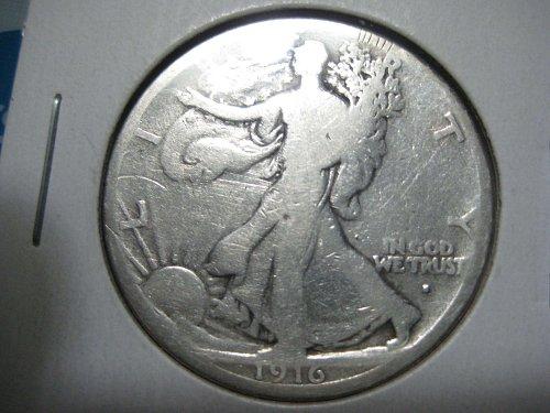 1916 S Walking Liberty half dollar