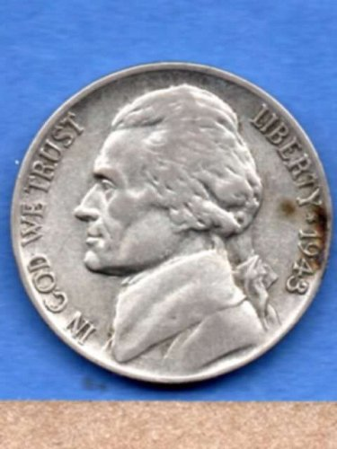 1943 P Jefferson Silver War Nickel Genuine Natural US Coin Money