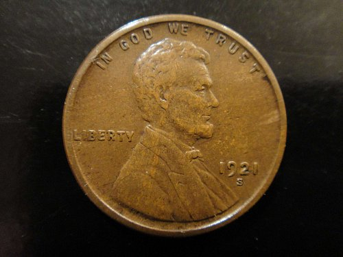 1921-S Lincoln Cent Extra Fine-40 Nice Chocolate Brown and Strong Strike!