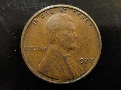 1927-S Lincoln Cent Extra Fine-40 Decent Strike with Traces of Luster