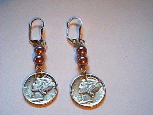 Siver Mercury Dime Earrings 2-Mercury Dimes 1942 & 44--silver coins