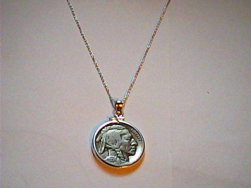 "Buffalo Nickel pendant with 18"" chain Bezel & chain signed 925 sterling silver"