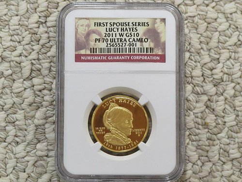 2011 FIRST SPOUSE GOLD - LUCY HAYES - G$10 PF70 NGC