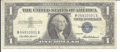 1957  SILVER CERTIFICATE  W 04832001 A