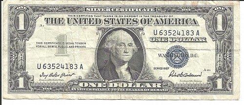 1957  SILVER CERTIFICATE  U 63524183 A