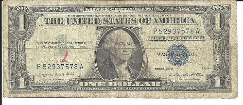 1957 A   SILVER CERTIFICATE   P 52937578 A