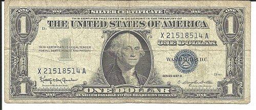 1957 B  SILVER CERTIFICATE   X 21518514 A