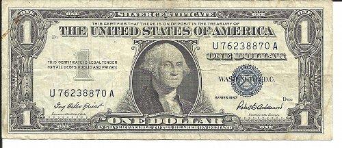 1957   SILVER CERTIFICATE  U 76238870 A
