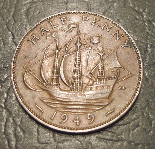 1949 United Kingdom Great Britain 1/2 Penny