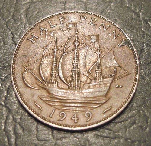 1949 United Kingdom Great Britain 1/2 Penny
