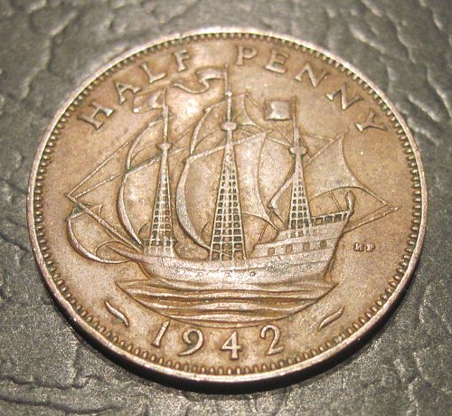 1942 Great Britain 1/2 Penny