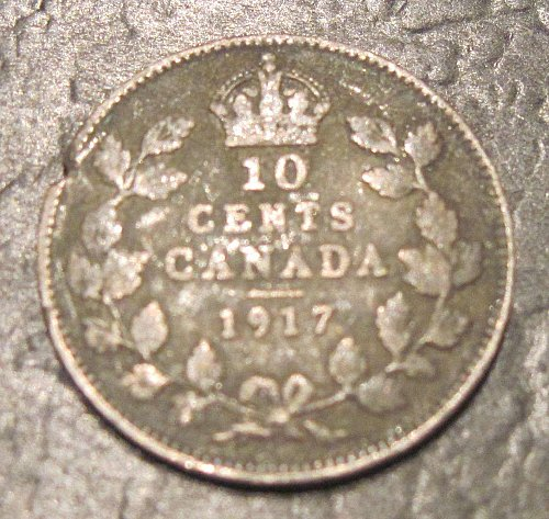 1917 Silver Canadian Dime