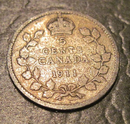 1911 Silver Canadian Nickel