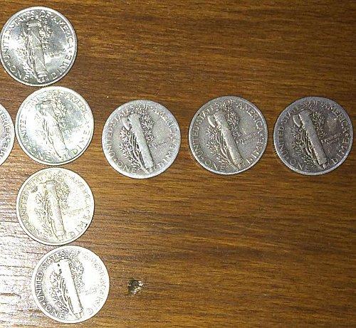 11pc. Mercury Dime Lot, NO RESERVE!!, 36',39'-D,40',41',42',43',44'-D