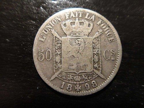BELGIUM 50 Centimes 1898 French Legend Fine-12 83.5% SILVER 0.0671 ASW KM#26