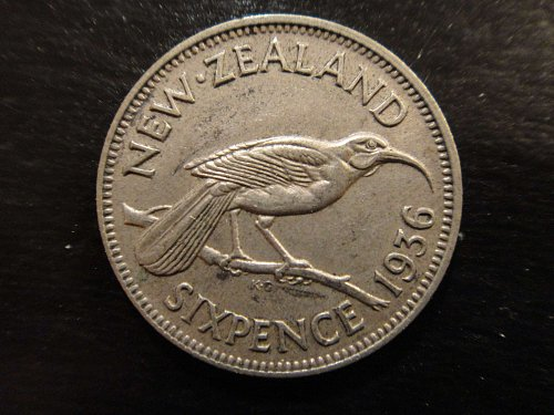 NEW ZEALAND 6 Pence 1936 Extra Fine-45 50% SILVER 0.0455 ASW Nice Coin! KM#2