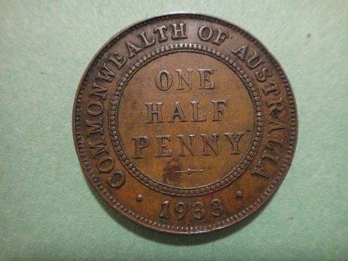 AUSTRALIA Half Penny 1933 Extra Fine-40 Nice Chocolate Brown Coin KM#22