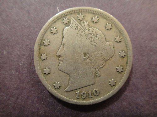 """Liberty """"V"""" Nickel 1910 Very Fine-20 All Letters Bold In """"LIBERTY!"""""""