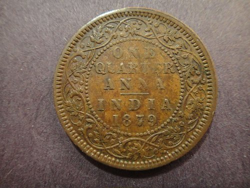 INDIA 1/4 Anna 1879-C Extra Fine-40 Attractive Foreign Type Copper! KM#486