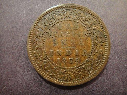 INDIA 1/4 Anna 1879-C Extra Fine-40 Attractive Foreign Type Copper! KM#486