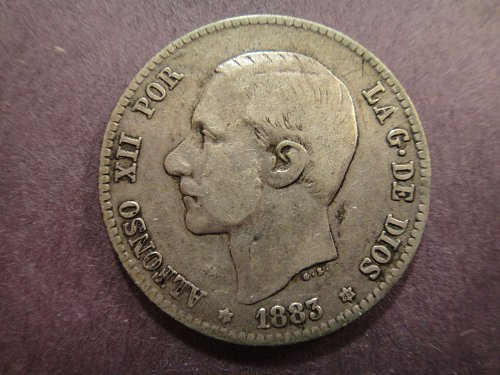 SPAIN 1 Pesta 1883 (83)-MS-M Fine-12 83.5% SILVER 0.1342 ASW Nice Coin! KM#686