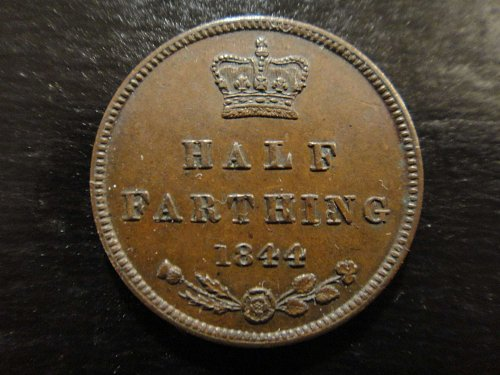 GREAT BRITAIN Half Farthing 1844 Almost Uncirculated-55 KM#738 Great Eye Appeal!