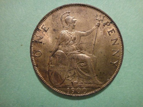 GREAT BRITAIN Penny 1900 MS-63 (Choice BU) Red Brown KM#790 Nice Type Coin!