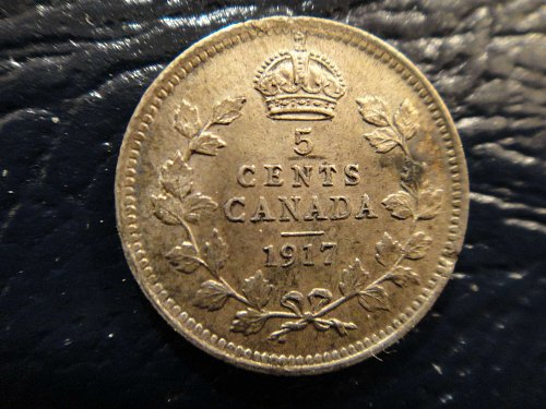 CANADA 5 Cents Silver 1917 MS-62 Nice Light Silver Toning With A Few Minor Spots