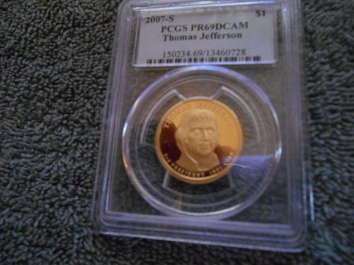 2007-S $1 Thomas Jefferson DC (Proof) Presidential Dollar pr69