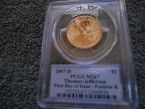 2007-D $1 Thomas Jefferson First Day of Issue -Pos B Presidential Dollar ms67