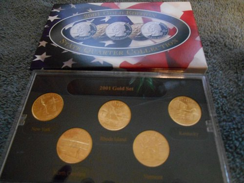 2001   gold plated    5 state quarter mint  set
