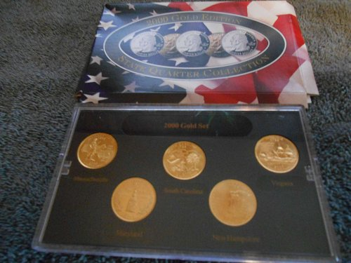 2000 gold plated    5 state quarter mint  set