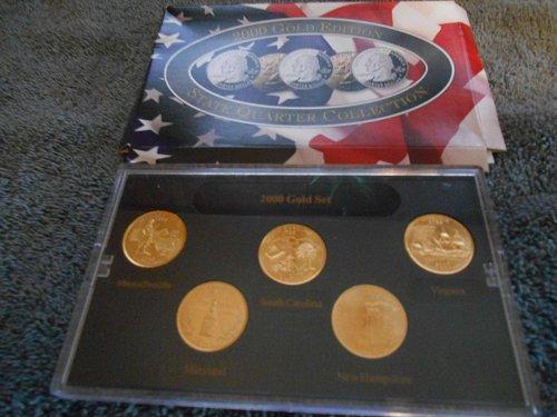 2000 gold plated    5 state quarter mint  set