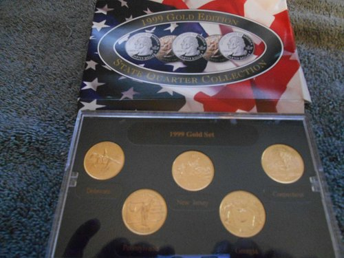 1999 gold plated 5 quarter mint set