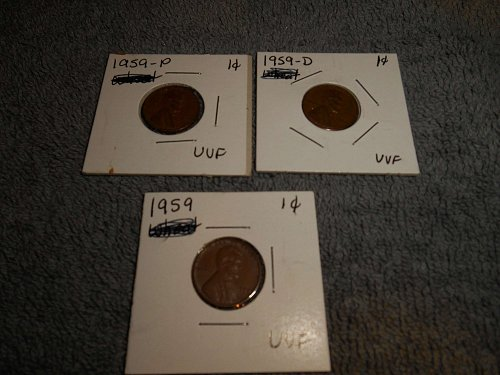 1957, 1958 & 1959 US Lincoln pennies