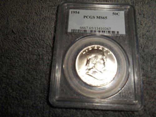 1954 50C  Franklin Half Dollar MS65