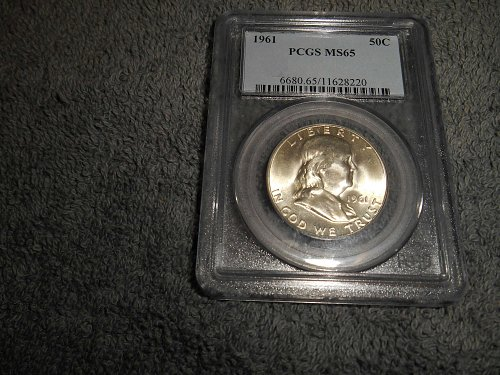 1961 50C Franklin Half Dollar MS65
