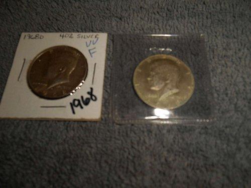 1968,1969-D, & 1972  kennedy half dollars