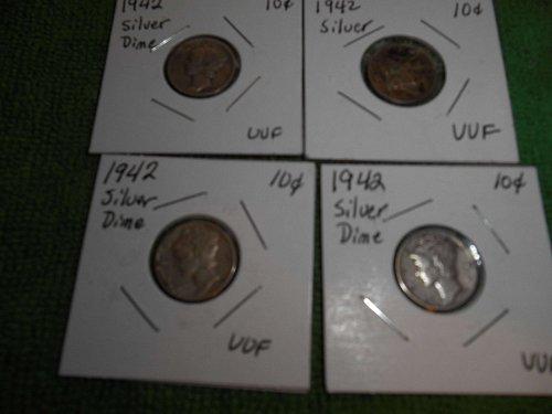 1942 & 1943 mercury dimes