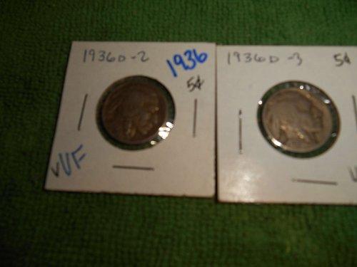 1936 bufflao nickels