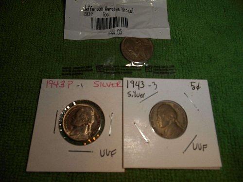 1943, 1944 & 1945 jefferson nickels