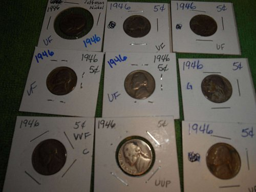 1946, 1947, 1948 and 1949 US Jefferson nickels