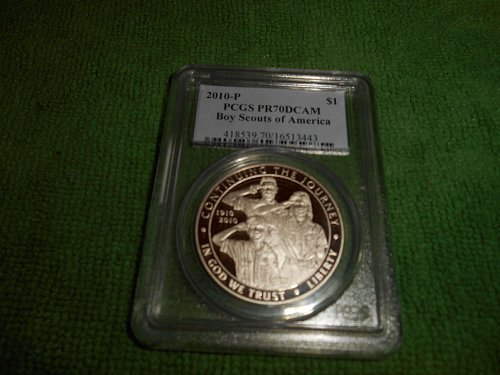 2010-P Boy Scout commemorative silver one dollar coin pr70