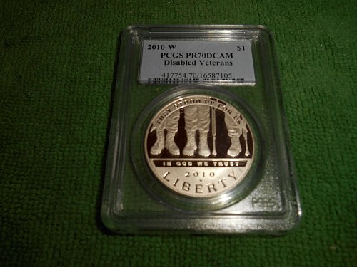 2010-W Disabled American Veterans commemorative silver one dollar pr 70